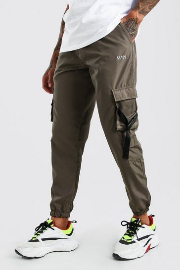 Khaki Shell Multi Cargo Pocket Joggers With Buckles