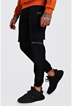 Black Original MAN Shell Utility Joggers With Zips