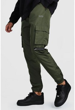 Khaki Original MAN Shell Utility Joggers With Zips