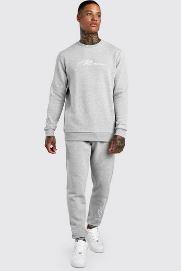 Grey marl 3D MAN Signature Embroidered Sweater Tracksuit