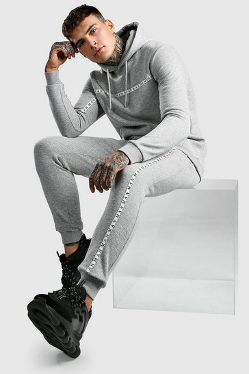 Grey marl Hooded Tracksuit With MAN Tape Detail