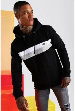 Black MAN Signature Colour Block Hoodie