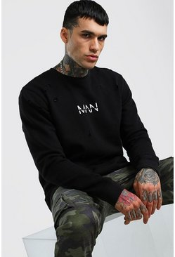 Black Original MAN Distressed Sweatshirt