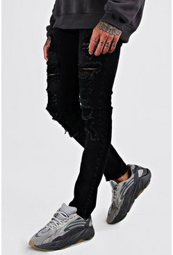 Washed black Skinny Jean With All Over Rips
