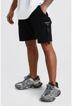 Black MAN Official Print Mid Length Jersey Cargo Short