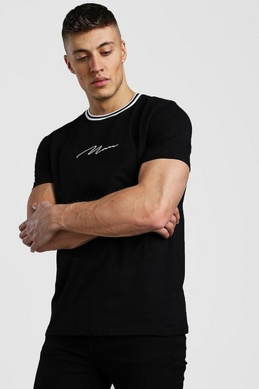 Black MAN Signature T-Shirt With Sports Rib Neck