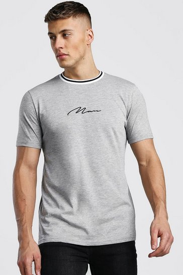 Grey MAN Signature T-Shirt With Sports Rib Neck