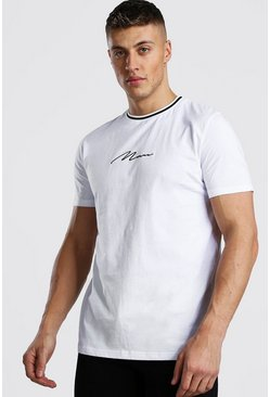 White MAN Signature T-Shirt With Sports Rib Neck