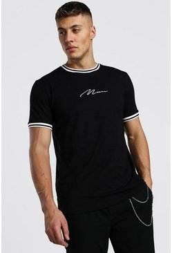 MAN Signature T-Shirt With Sports Rib Neck & Cuff, Black