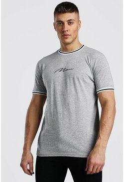 MAN Signature T-Shirt With Sports Rib Neck & Cuff, Grey
