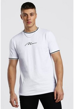 MAN Signature T-Shirt With Sports Rib Neck & Cuff, White