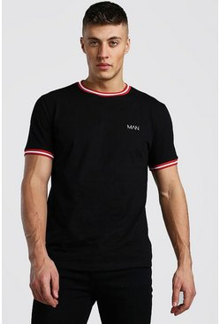 Original MAN T-Shirt With Sports Rib Neck & Cuff, Black