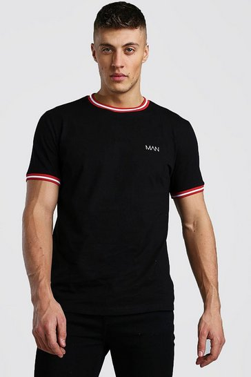 Black Original MAN T-Shirt With Sports Rib Neck & Cuff