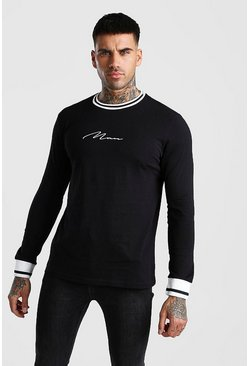 Black MAN Signature Long Sleeve T-Shirt With Sports Rib