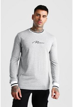 Grey MAN Signature Long Sleeve T-Shirt With Sports Rib