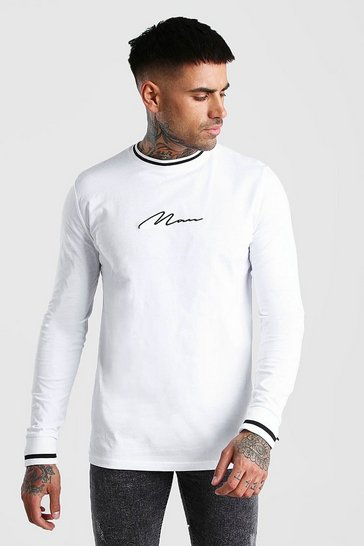 White MAN Signature Long Sleeve T-Shirt With Sports Rib
