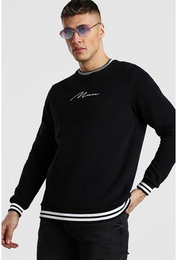 Black MAN Signature Sweatshirt With Sports Rib