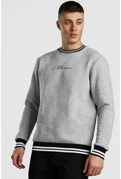 Grey MAN Signature Sweatshirt With Sports Rib