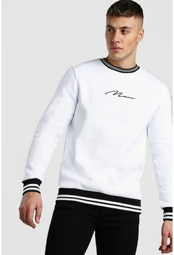 White MAN Signature Sweatshirt With Sports Rib