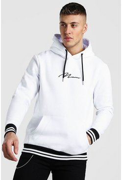 White MAN Signature Hoodie With Sports Rib