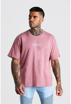 Camiseta con estampado MAN original ancho, Malva