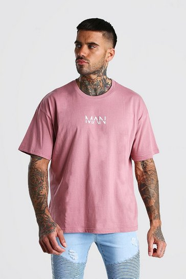 Mauve Oversized Original MAN Print T-Shirt