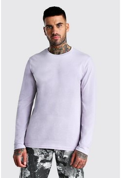 Lilac Basic Long Sleeve Crew Neck T-Shirt