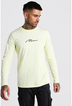 Yellow MAN Signature Long Sleeve T-Shirt