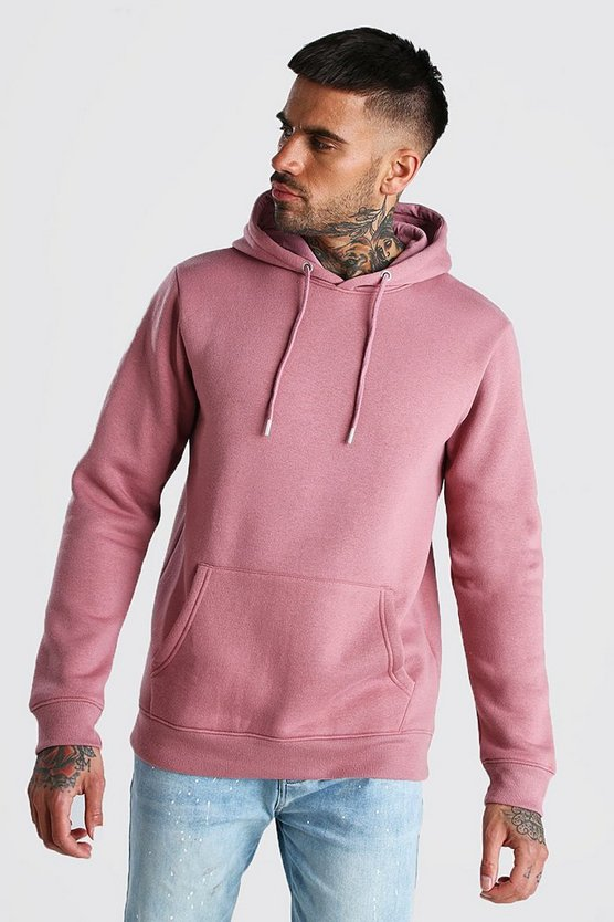 Mauve Basic Over The Head Fleece Hoodie