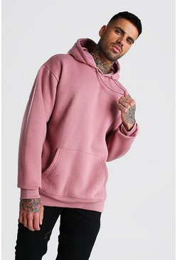 Mauve Basic Oversized Over The Head Fleece Hoodie