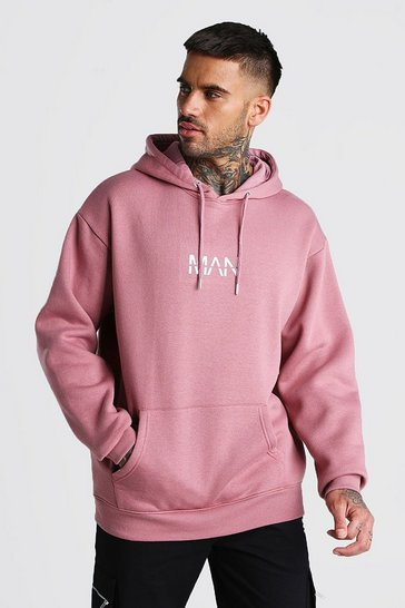 Mauve Oversized Original MAN Print Over The Head Hoodie