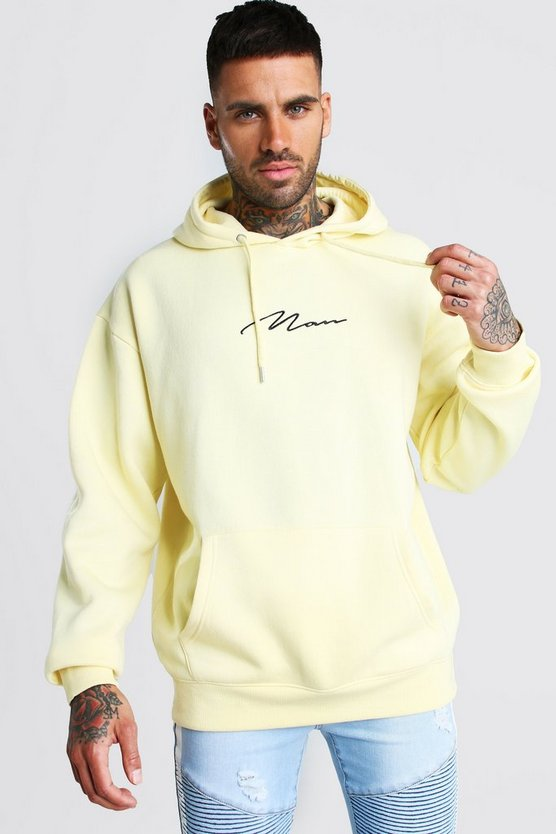 Yellow Oversized MAN Signature Hoodie