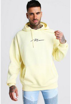 Sweat à capuche oversize signature MAN, Jaune