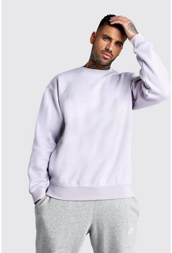 Sweat-shirt basique oversize en polaire, Lilas