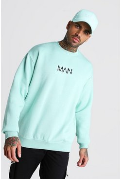Mint Oversized Original MAN Print Sweatshirt