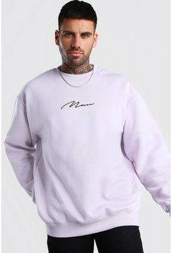 Lilac Oversized MAN Signature Sweatshirt