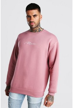 Sweat-shirt oversize signature MAN, Mauve