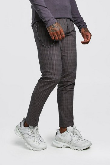 Brown Skinny Fit Micro Check Trouser with Chain