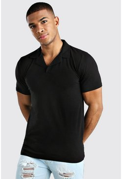 Black Muscle Fit Revere Neck Polo