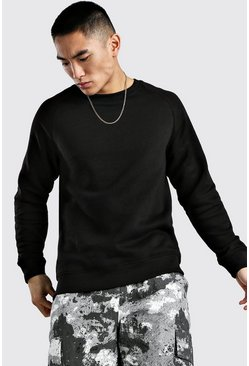 Black Basic Sweatshirt med raglanärm