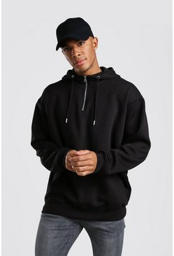 Oversized Hoodie With 1/4 Zip Neck, Black