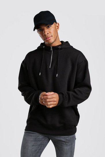 Black Oversized Hoodie With 1/4 Zip Neck
