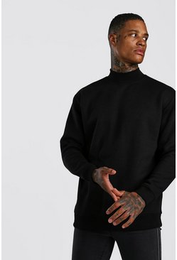 Black Loose Fit Sweatshirt With Turtle Neck