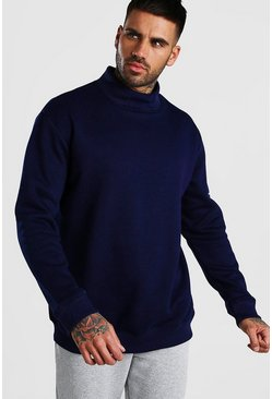 Navy Oversized Sweatshirt With Grown On Neck