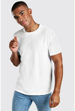 White Crew Neck T-Shirt With Ribbed Cuff