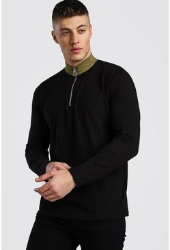 Black Long Sleeve Zip Funnel T-Shirt With Contrast Neck