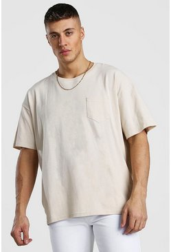 Ecru Oversized Pocket T-Shirt In Pique
