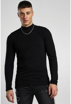 Black Muscle Fit Long Sleeve T-Shirt With Turtle Neck