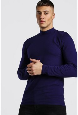 Navy Muscle Fit Long Sleeve T-Shirt With Turtle Neck
