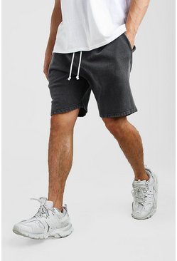Loose Fit Acid Wash Jersey Short , Dark grey